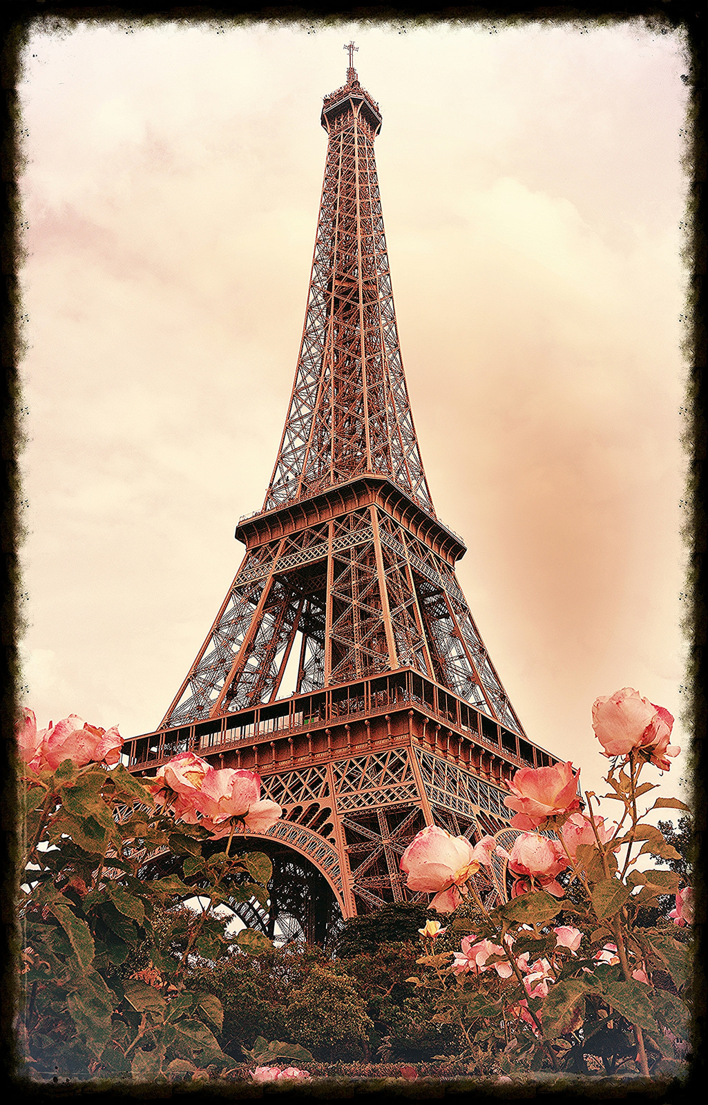 Eiffel Tower Paris France Classic With Roses Frederico Domondon